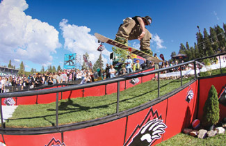 Top pro riders on summer snow at Hot Dawgz and Hand Rails