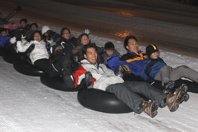 Tubing After Dark at Alpine Slide Big Bear
