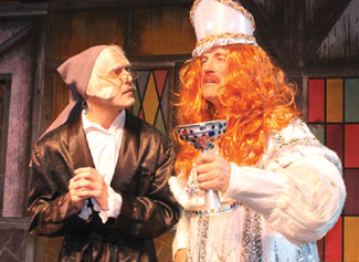 Scrooge and Ghost Present in A Christmas Carol