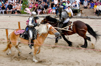 Live contact action jousting at Big Bear Renaissance Faire