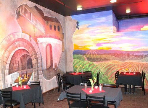Beautiful Murals, Fine Dining, Wine Room at New Black Kat