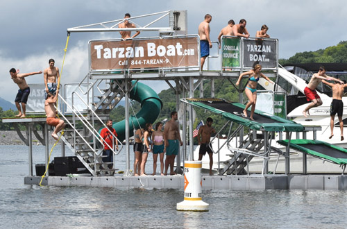 Go Ape on New Tarzan Boat Floating Water Park at Captain John's Marina